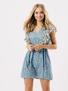 Blue Multi Ditsy Print Contrast Shoulder Ruffle Dress