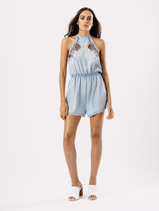 Blue Light Wash Embroidered Halterneck Playsuit
