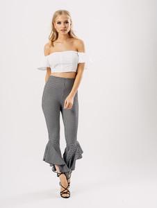 Gingham Extreme Ruffle Hem Trousers