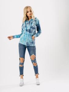 Blue Tie Dye Zipper Hoodie Jacket
