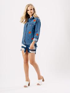 Blue Longline Rose Embroidered Denim Jacket