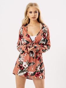 Pink Floral Sheer Beach Dress