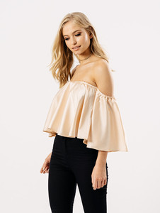 Blush Satin Bardot Top