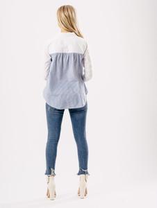 White Cotton Contrast Stripe Shirt