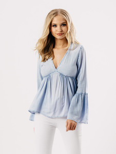 Light Wash Blue Bell Sleeve V Neck Smock Top