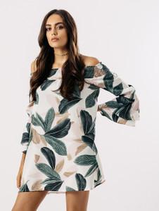 Tropical Leaf Print Bardot Dress With Tier Sleeve