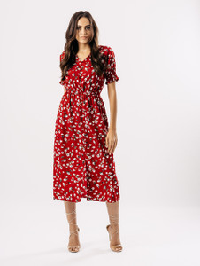 Red Floral Button Detail Midi Dress