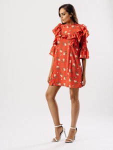 Floral Print Ruffle Front Dress