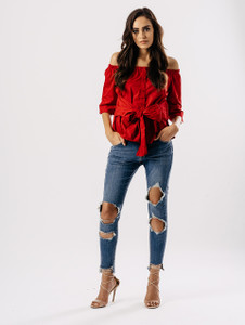 Red Tie Front Bardot Button Up Shirt