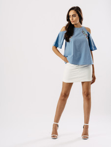 Blue Embroidered Cold Shoulder Tier Sleeve Top