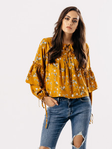 Mustard Floral Print Frill Detail Top