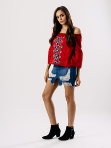 Red Embroidered Front Bardot Bell Sleeve Top