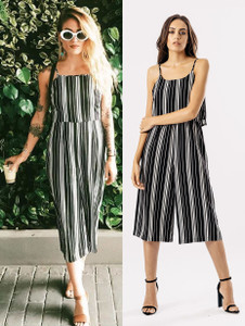 Stripe Print Monochrome Layered Jumpsuit