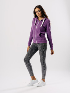 Jersey Zip Hoodie in Purple