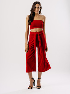 Red Tube Top & Culotte Co Ord Set