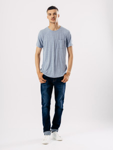 Blue Longline Short Sleeve Tee With Pocket