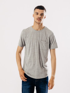 Grey Longline Short Sleeve Tee With Pocket