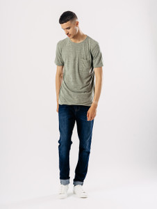 Khaki Longline Short Sleeve Tee With Pocket
