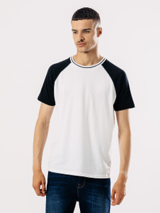 Black White Short Sleeve Raglan Tee