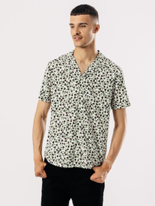 Short Sleeve Ditsy Print Shirt With Revere Collar