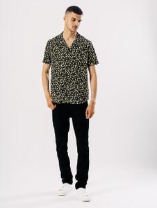 Black Ditsy Print Revere Collar Shirt