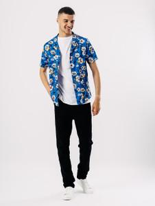 White Blue Ditsy Print Revere Collar Shirt