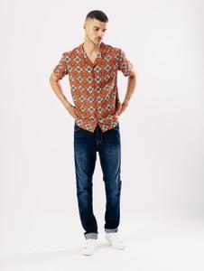 Red Tile Print Revere Collar Shirt