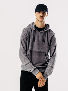 Grey Hooded Sweat With Contrast Twill Panel