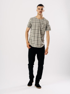 Grey Check Short Sleeve T Shirt