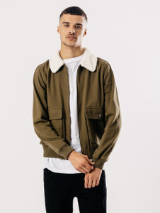 Khaki Denim Bomber With Borg Collar