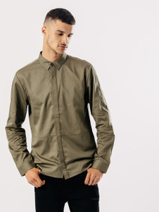 Khaki Long Sleeve Shirt With Concealed Buttons