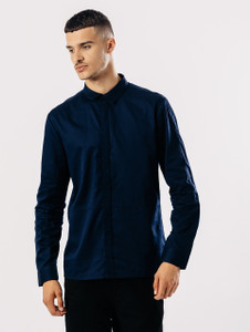 Navy Long Sleeve Shirt With Concealed Buttons
