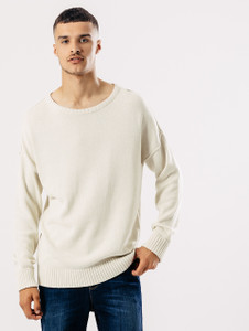 Stone Distressed Dropped Shoulder Knit