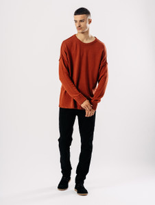 Rust Distressed Dropped Shoulder Knit