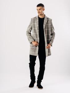 Grey Long Window Pane Check Overcoat