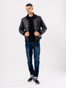 Funnel Neck Quilted Bomber With Contrast Pockets
