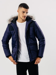 Navy Quilted Puffa Jacket With Hood