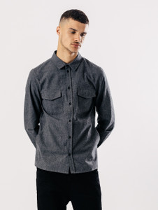Grey Long Sleeve Brushed Cotton Shirt With Pockets