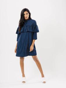 Blue Polka Dot High Neck Ruffle Shift Dress