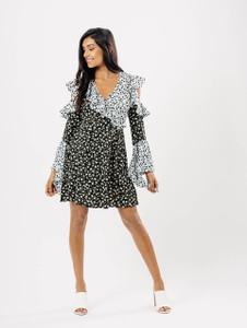 Green Floral Cold Shoulder Frill Flute Sleeve Print Dress