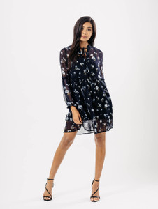Blue Floral Sheer Balloon Smock Dress