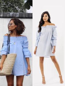 Blue Stripe Ruffle Bardot Dress