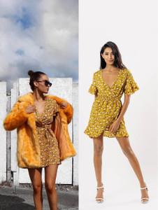 Mustard Floral Tier Sleeve Ruffle Wrap Dress