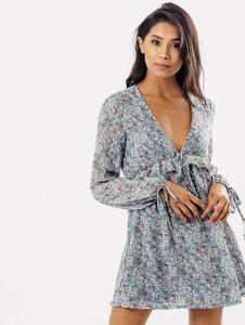Blue Floral V Neck Ruffle Waist Dress
