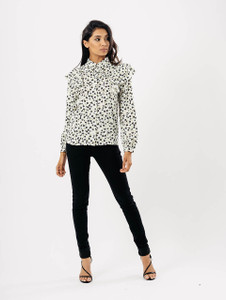 White Ditsy Print Ruffle Front Blouse