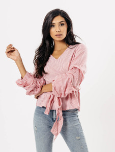Pink Stripe Extreme Ruffle Sleeve Tie Waist Top