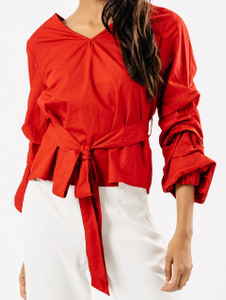 Red Extreme Ruffle Sleeve Tie Waist Top