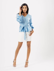 Blue Extreme Ruffle Sleeve Tie Waist Top