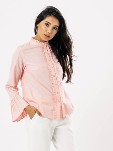 Pink Ruffle Seam Pleated Sleeve Shirt