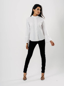White Ruffle Seam Pleated Sleeve Shirt